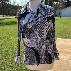 Women's Gray and Black Blouse